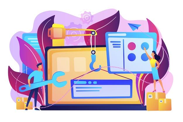 Profissionais de ti estão criando web site na ilustração da tela do laptop
