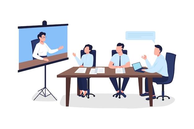 Profissionais em reunião de negócios personagem sem rosto de cor lisa