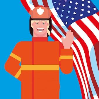 Profissional de bombeiro com bandeira eua