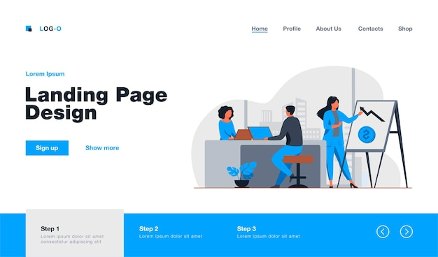 Profissional de marketing apresentando gráfico financeiro ao chefe. equipe de negócios trabalhando em ilustração plana de escritório