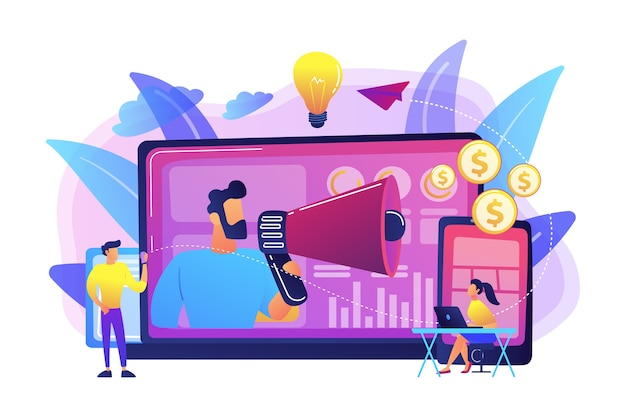 Profissional de marketing entregando anúncios com megafone e dispositivos. marketing entre dispositivos, análise de marketing entre dispositivos e conceito de estratégia em fundo branco. ilustração isolada violeta vibrante brilhante