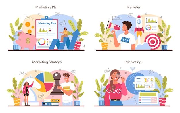 Profissional de marketing. estratégia de marketing e comunicação com o cliente