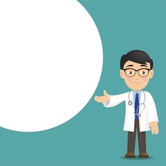 Profissional médico com balão e fundo branco