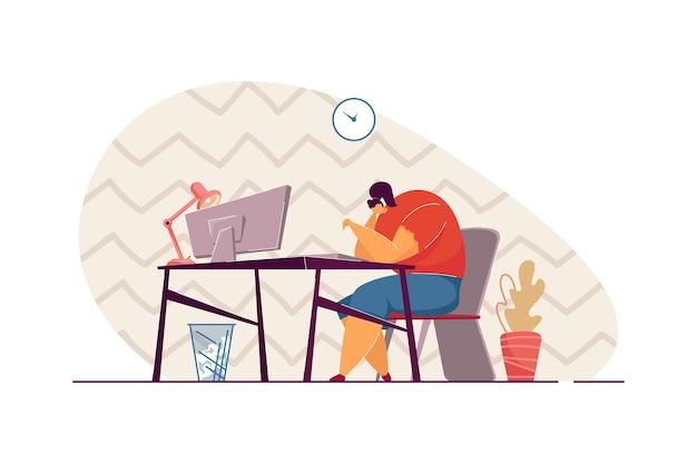 Profissional milenar infeliz cansada de seu trabalho ou emprego