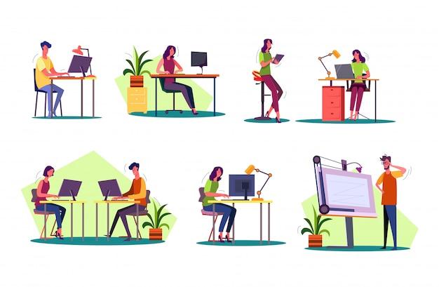 Profissional no local de trabalho definido