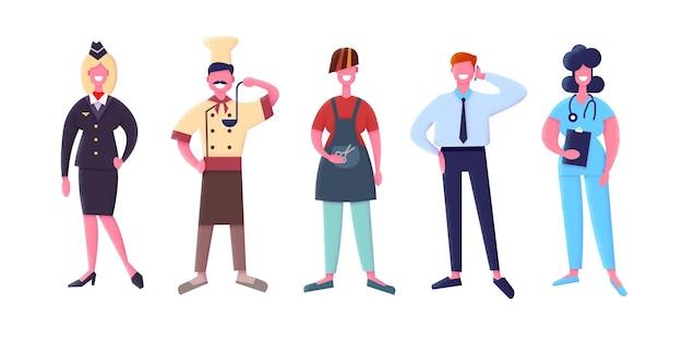 Profissões. conceito de agência de emprego plano. personagens isolados em fundo branco