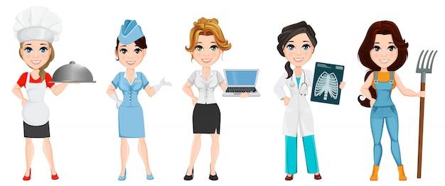 Profissões. conjunto de personagens de desenhos animados femininos