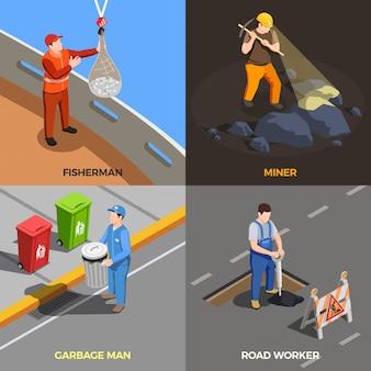 Profissões de trabalhador com ilustração de trabalho urbano moderno
