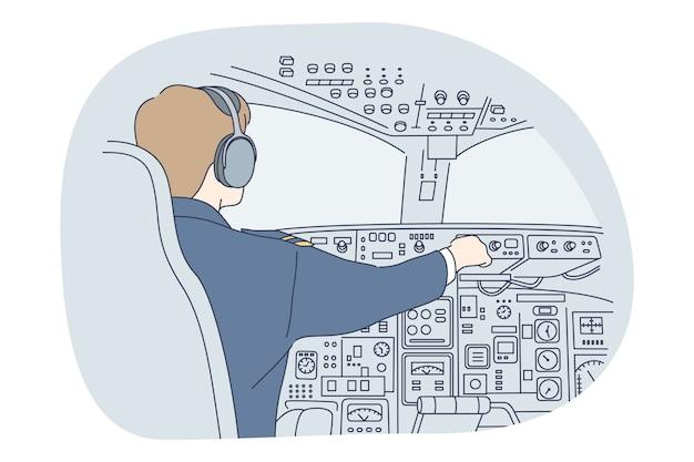 Profissões, ocupação, conceito de trabalho. homem piloto profissional em uniforme de desenho animado sentado