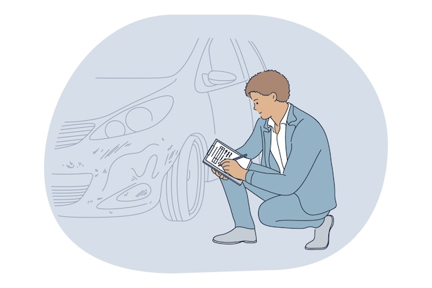 Profissões, trabalho, carreira no conceito de seguradora. -