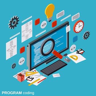 Programa, codificação, isometric, vetorial, conceito, ilustração
