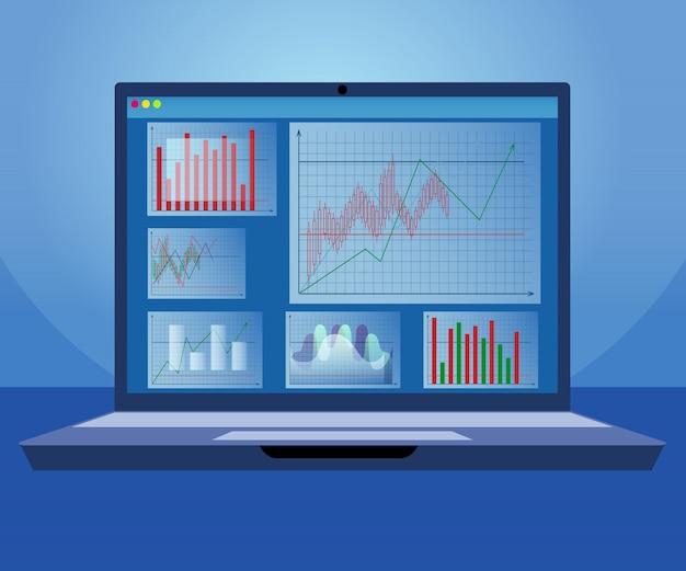Programa de análise de trader de inovação para laptop