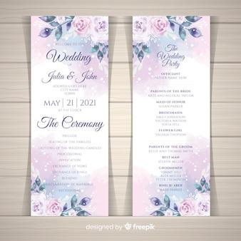 Programa de casamento lindo com flores em aquarela