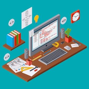 Programa de codificação, melhoria de algoritmo seo, desenvolvimento de aplicativos, programação web plana conceito de vetor 3d isométrica