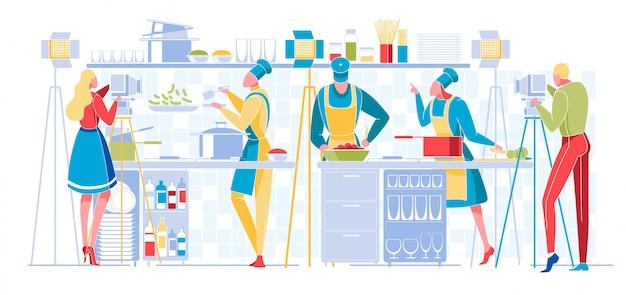 Programa de culinária ou transmissão de blog. televisão