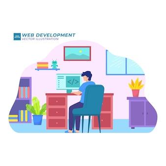 Programa de desenvolvimento de ilustração plana de desenvolvimento da web para desenvolvimento de aplicativo