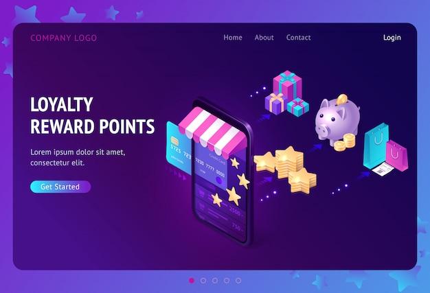 Programa de fidelidade com landing page de pontos de bônus