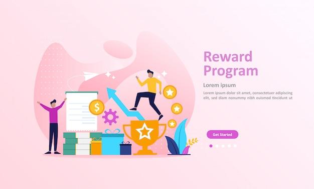 Programa de fidelidade e recompensar a página de destino