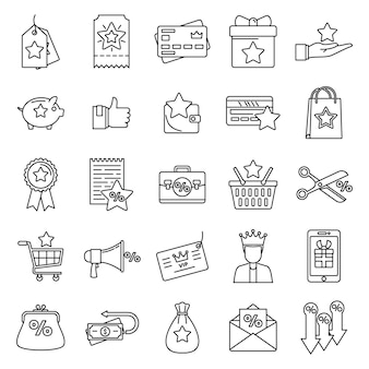 Programa de fidelidade recompensa conjunto de ícones, estilo de estrutura de tópicos