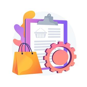Programa de rastreamento de pedidos, serviço conveniente. lista de compras, conteúdo da cesta, pacote de compra. software móvel, aplicativo para smartphone. ilustração em vetor conceito metáfora isolado.