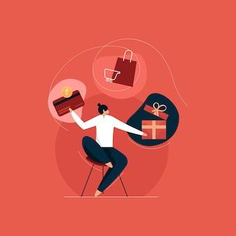 Programa de recompensas e pontos de bônus, clientes ganhando presentes