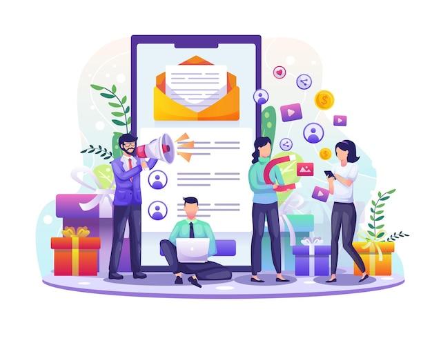 Programa de referência e parceria de afiliados com empresários indicando pessoas usando um smartphone