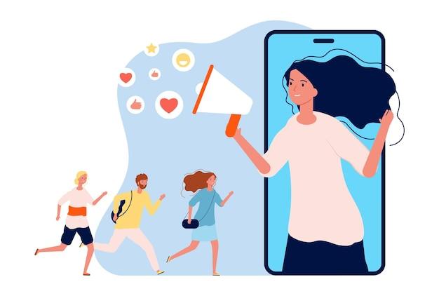 Programa de referência. marketing online, mulher com megafone indica um amigo. ilustração do vetor de informação de mídia social. anúncio do megafone e persuadir a recomendação do programa
