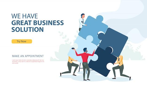 Programa de solução de negócios com o conceito de design plano