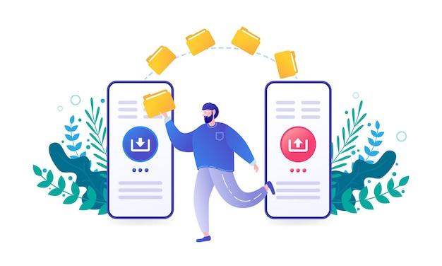 Programa de transferência de arquivos para conexão remota entre página inicial de conceito de dois smartphones