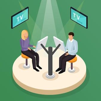Programa de tv de teste isométrico com elementos do estúdio de televisão com iluminação de pessoas e telas sensíveis ao toque