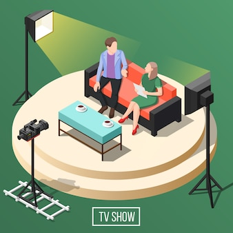 Programa de tv isométrico