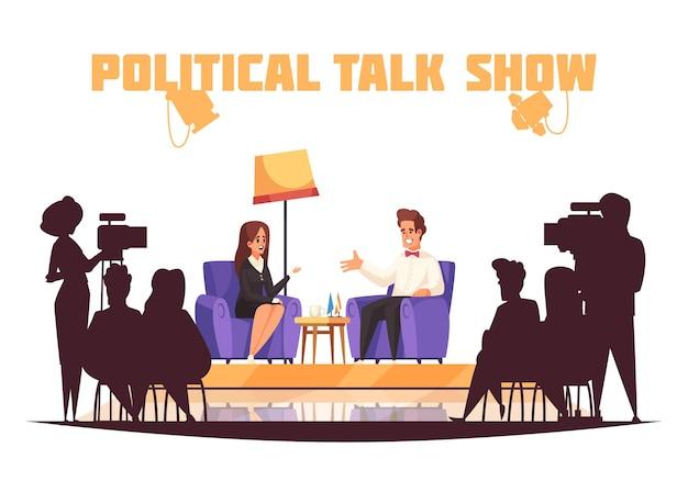 Programa de tv sobre talk show político com jornalista fazendo perguntas a políticos na frente da platéia