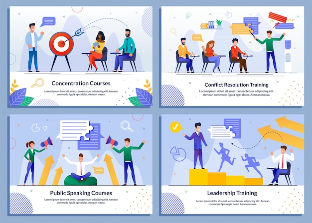 Programa educacional para empresários banner set