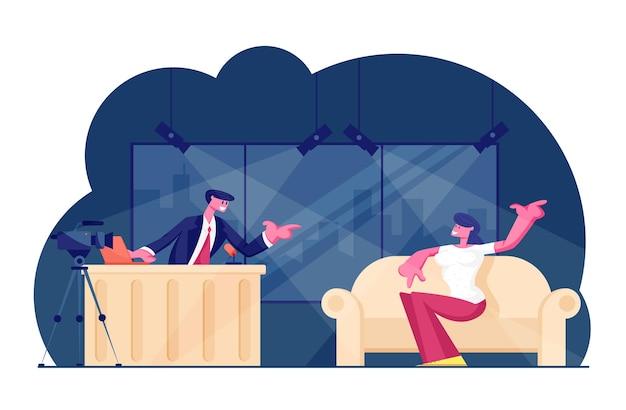 Programa noturno de tv com convidado. ilustração plana dos desenhos animados