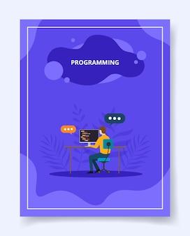 Programação de aplicativos de software de desenvolvimento de homem no computador