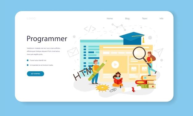 Programação de banner da web ou página de destino - educação
