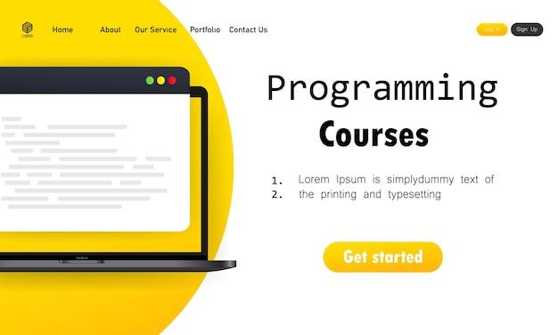 Programação de cursos ou aprendizagem de codificação em laptop