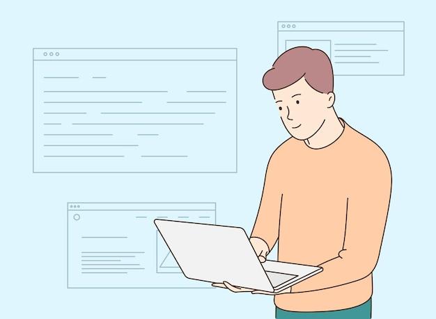 Programação de desenvolvedor de back-end ou front-end por laptop