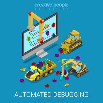 Programação de desenvolvimento de código isométrico plano do processo de depuração automatizado