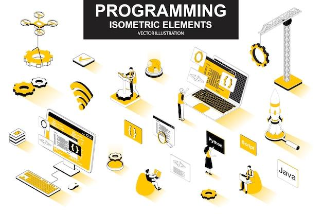 Programação de elementos de linha isométrica 3d