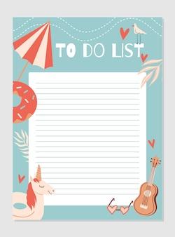 Programação de modelo de planejador semanal e diária com notas e lista de tarefas com itens de verão