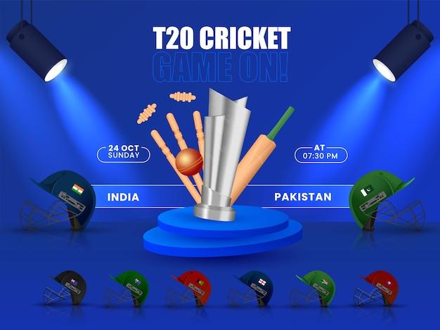 Programação de partidas de críquete t20 entre a índia e o paquistão com capacetes e equipamentos de torneio 3d de outros países participantes no fundo azul.