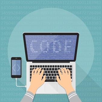 Programação de programador em laptop