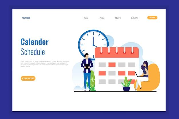 Programação do calendário para a página de destino