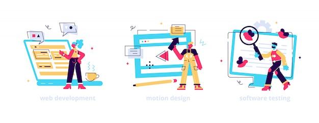 Programação e codificação de sites. designer de animação por computador. corrigindo erro. desenvolvimento web, design gráfico de movimento, metáforas de teste de software.