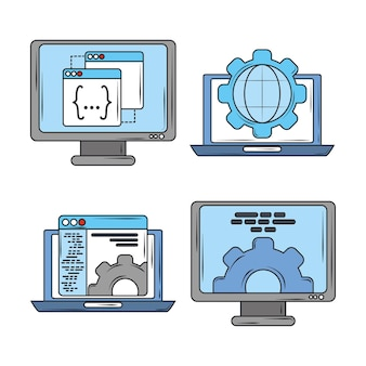 Programação e codificação de software digital de desenvolvimento web, ilustração de ícones de telas de laptop