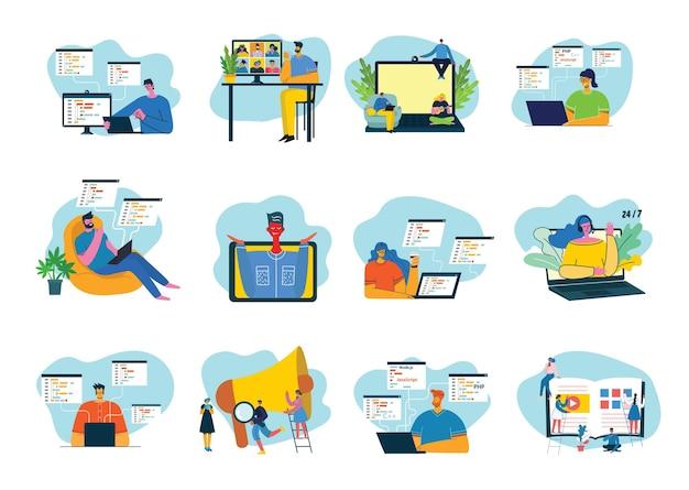 Programação e codificação, desenvolvimento de sites, web design.
