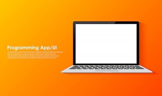 Programação e codificação na tela do laptop