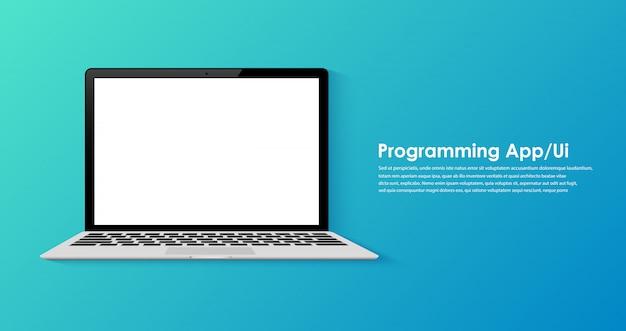 Programação e codificação no modelo de tela do laptop