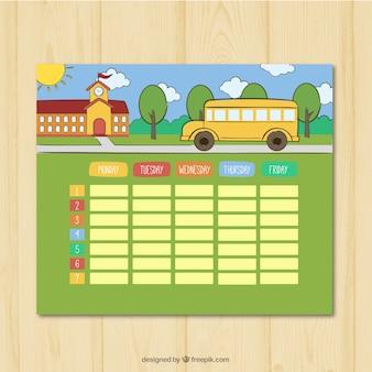 Programação semanal com fundo da escola e autocarro